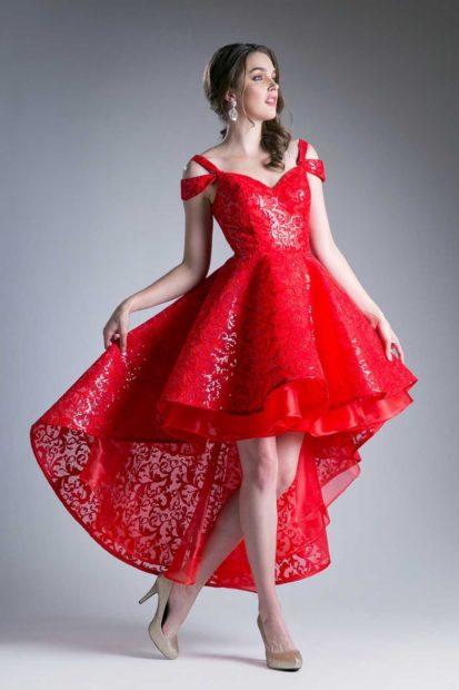 платье на выпускной 2018 красное со шлейфом гипюр