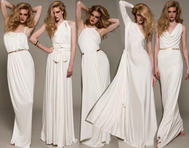 платья выпускные 2018 2019 греческий стиль белое в пол