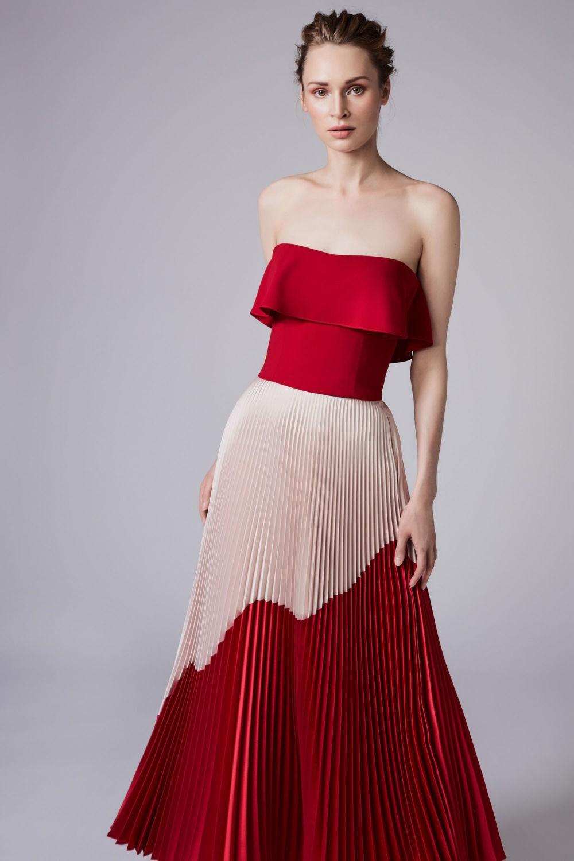 выпускные платья 2018 красное в складку