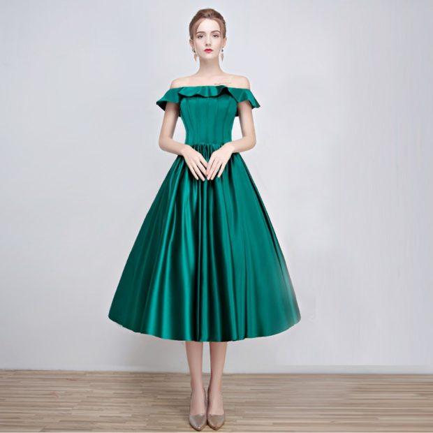 платья выпускные 2018 2019 пышное зеленое миди