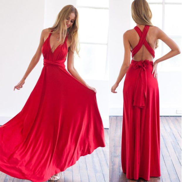 платья выпускные 2018 2019 длинное в пол красное с бантом