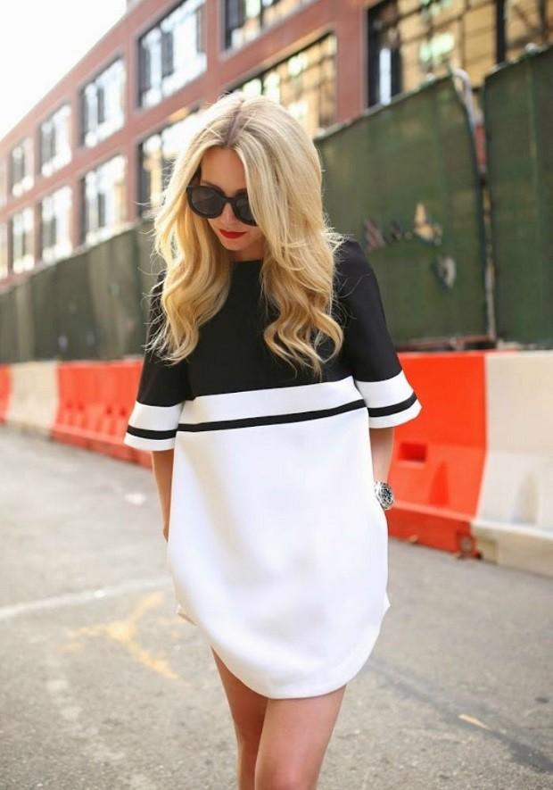 Спортивная мода весна-лето 2018: платье черное с белым