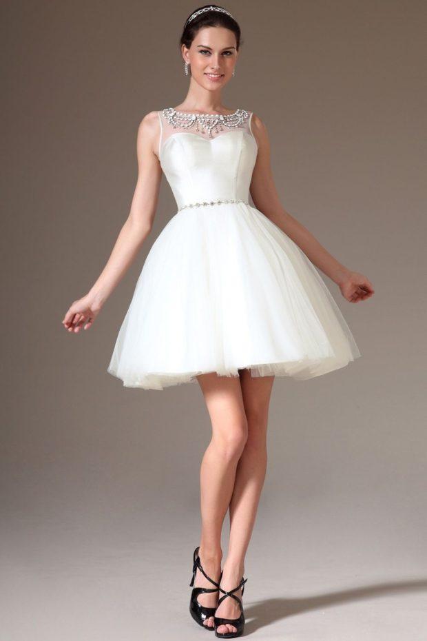 свадебная мода 2018-2019: платье пышное короткое
