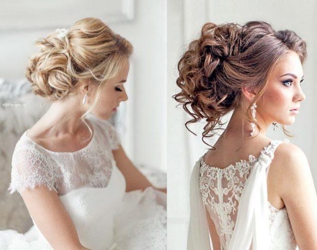 свадебная мода 2018-2019: волосы убраны на верх с локонами