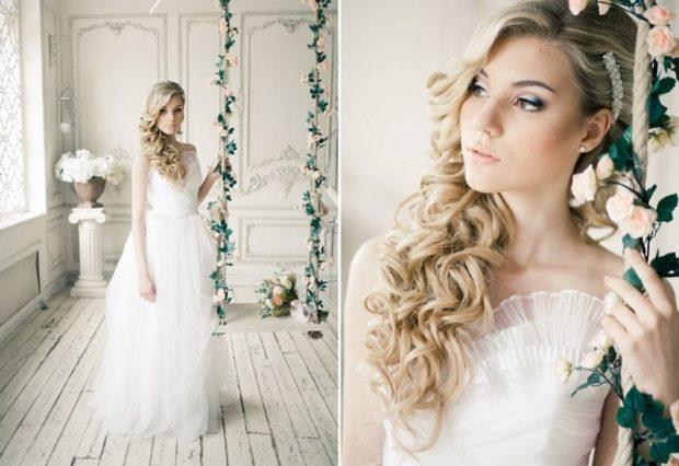 свадебная мода 2018-2019: волосы распущенные украшения