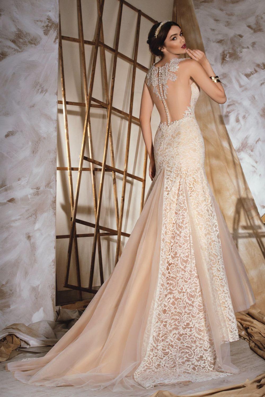 свадебная мода 2018 платье бежевое открытая спина