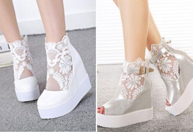 свадебная мода: туфли на платформе с кружевами