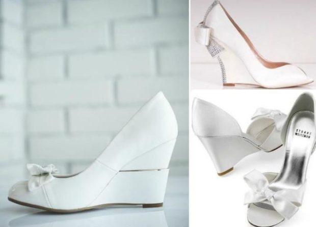 свадебная мода: туфли на танкетке белые с бантом