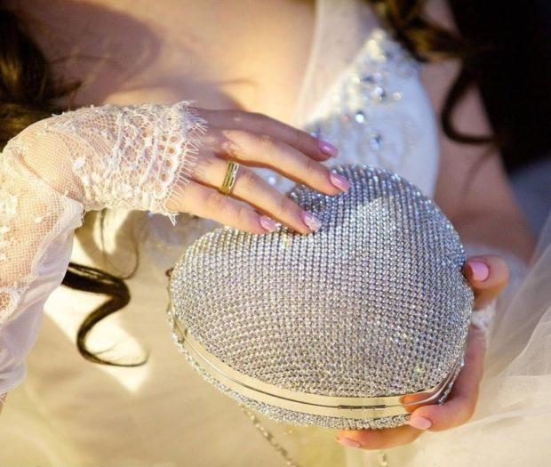 свадебная модная сумка в виде сердечка из камней