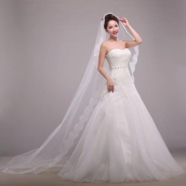 свадебная мода: фата длинная