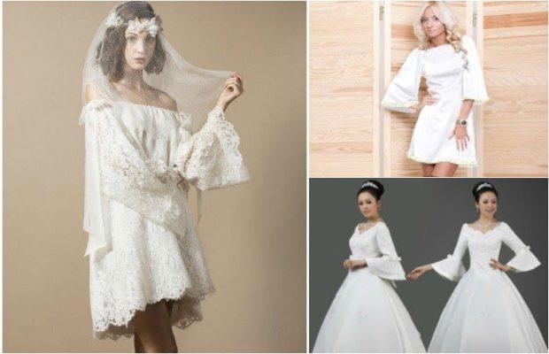 свадебная мода 2018-2019: платье с рукавами-колокольчиками