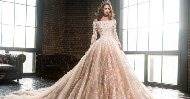свадебная мода 2018-2019: платье пышное открытые плечи
