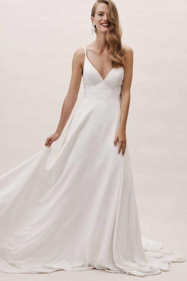 свадебная мода: платье белое на лямках