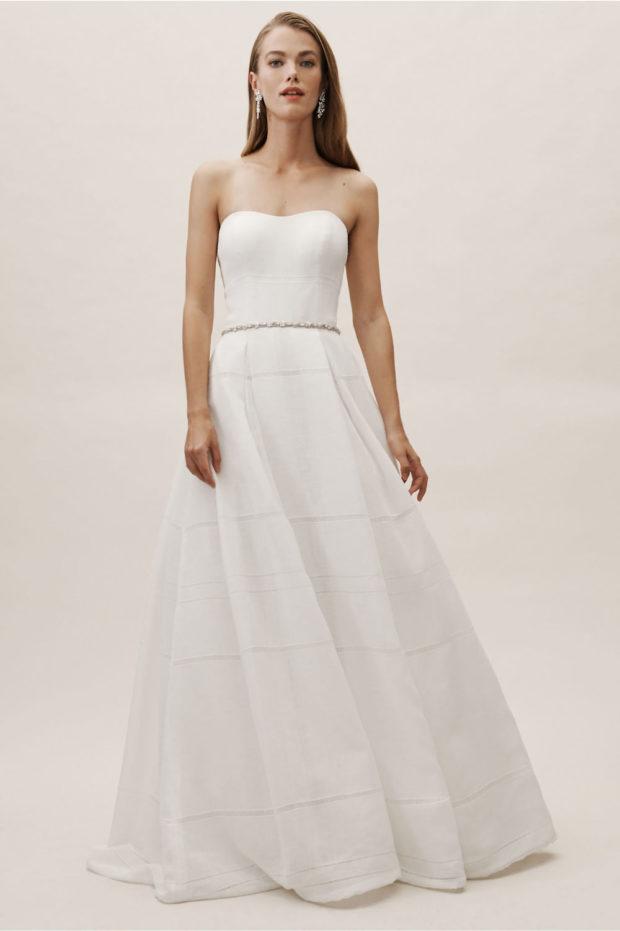 свадебная мода: платье белое греческое без лямок