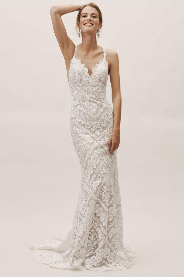 свадебная мода: ажурное платье белое на лямках длинное