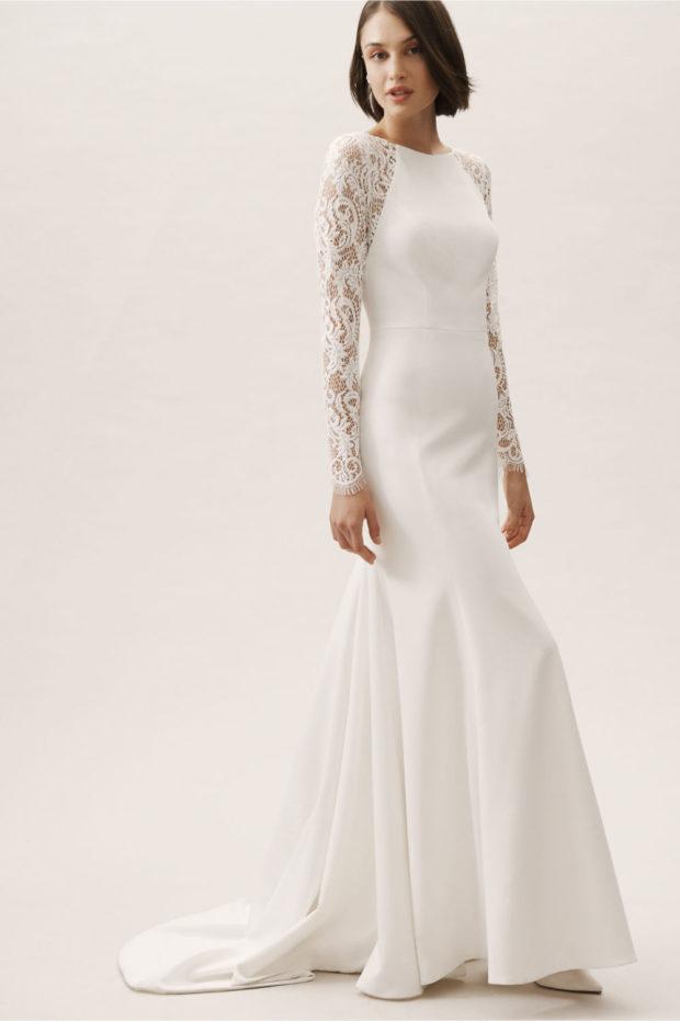 белое платье ажурные рукава