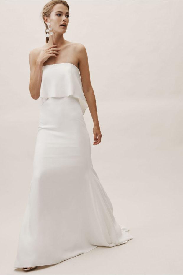 свадебная мода: белое платье без лямок