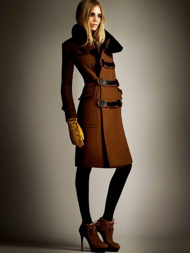 Тренды осень зима 2018 2019: пальто коричневое милитари