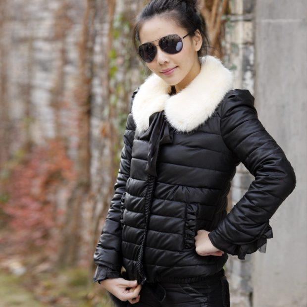 тренды: куртка мини черня с мехом