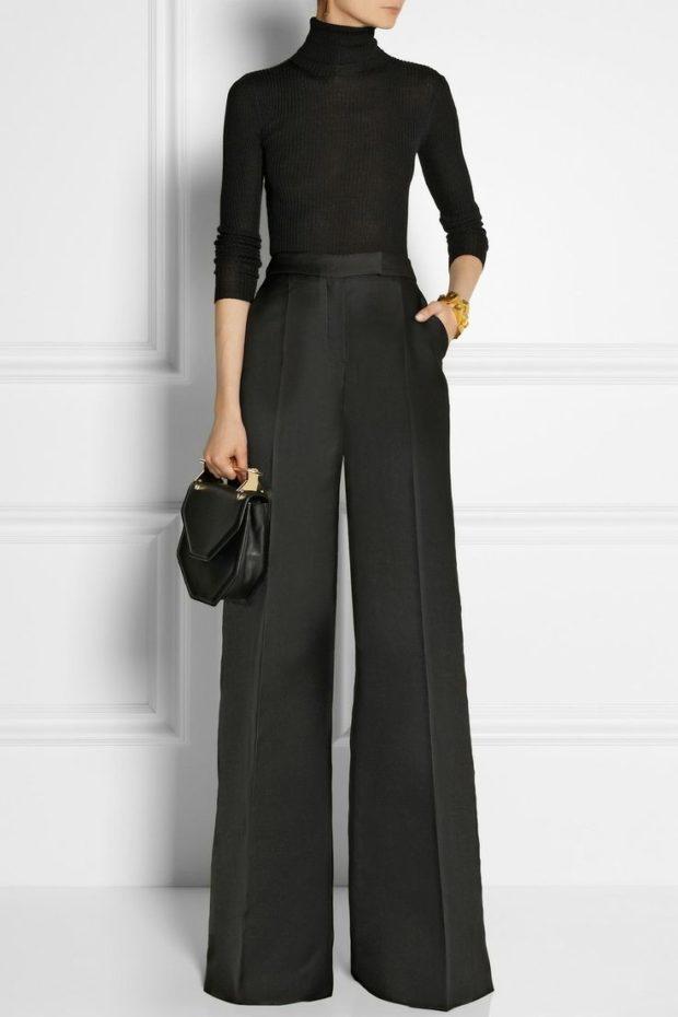 тренды: широкие серые брюки под кофту