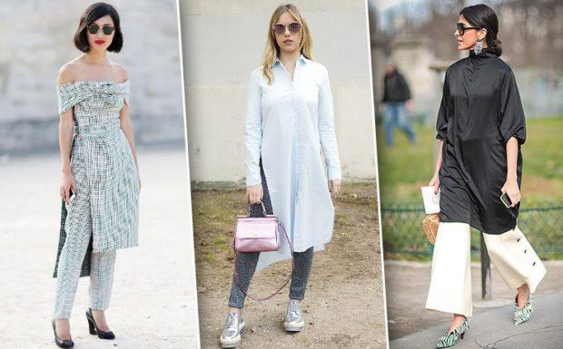 Тренды осень зима 2019: платье с брюками светлое контрастное