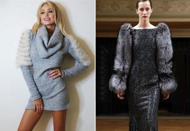 Тренды осень зима 2019: платье с мехом короткое голубое длинное черное