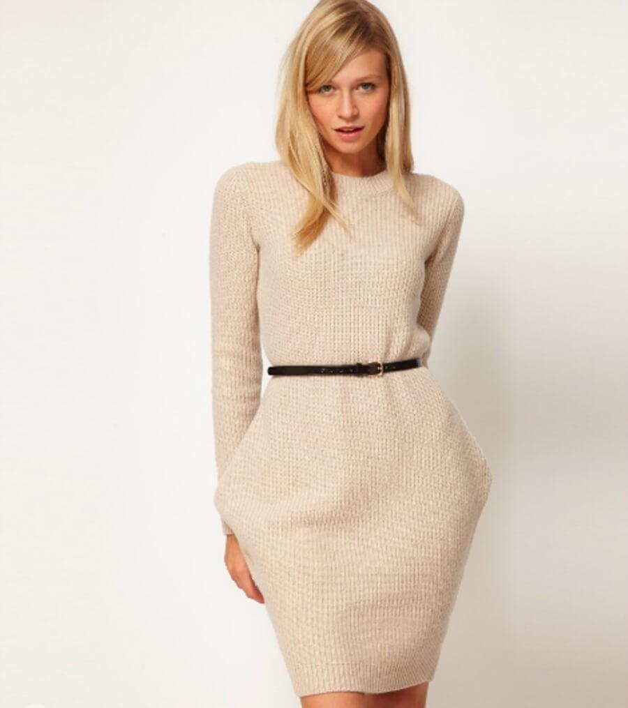 Тренды осень зима 2019:  платье шерсть белое с пояском