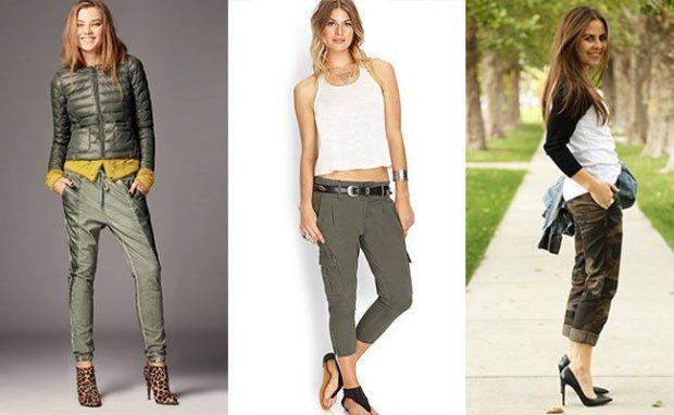 Тренды осень зима 2019: брюки короткие зеленые