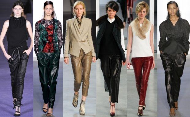 Тренды осень зима 2019: брюки кожаные