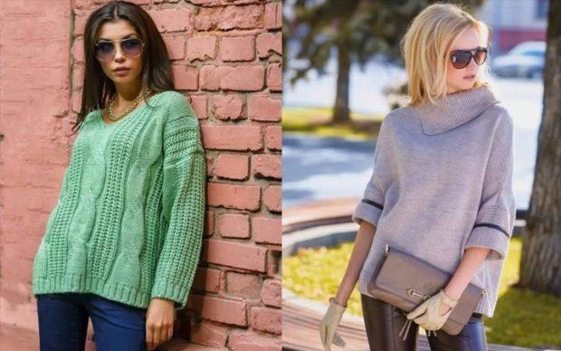 тренды осень зима 2019 свитера зеленый светлый широкий