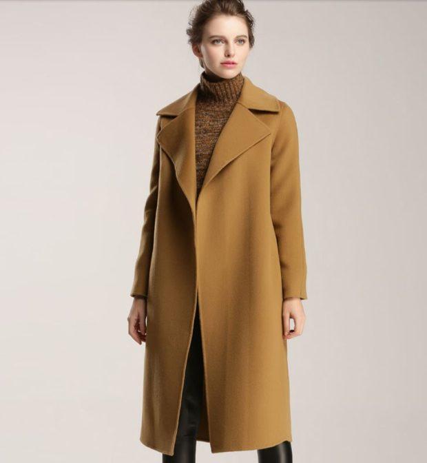 Тренды осень зима 2018 2019: пальто бежевое шерстяное длинное