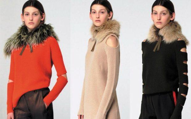 Тренды осень зима 2019: кофта с мехом