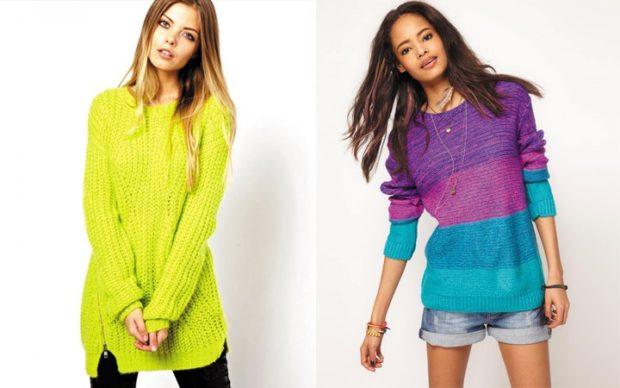 свитер зеленый цветной