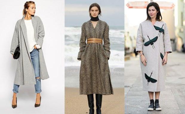 Тренды осень зима 2019: пальто серое полоска с принтом