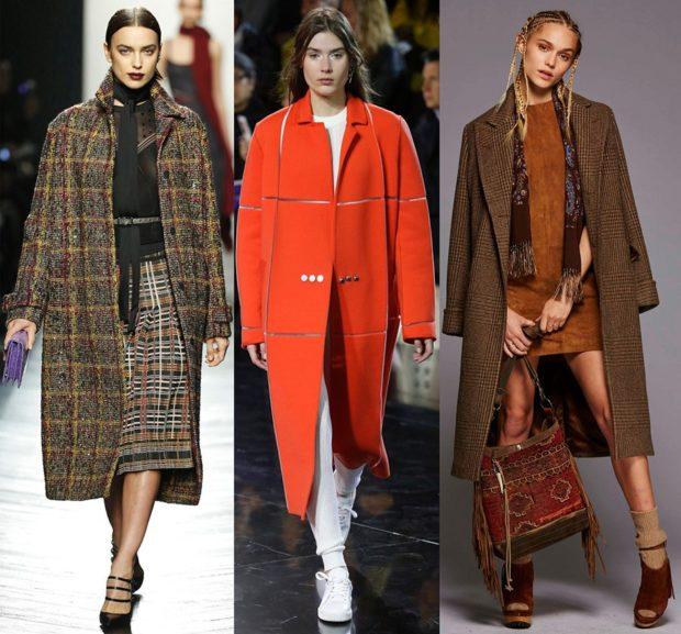 Тренды осень зима 2018 2019: пальто осеннее удлиненное клетка красное