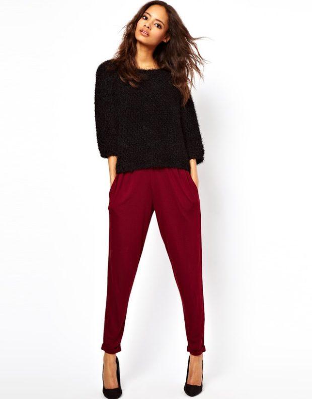 брюки короткие бордовые