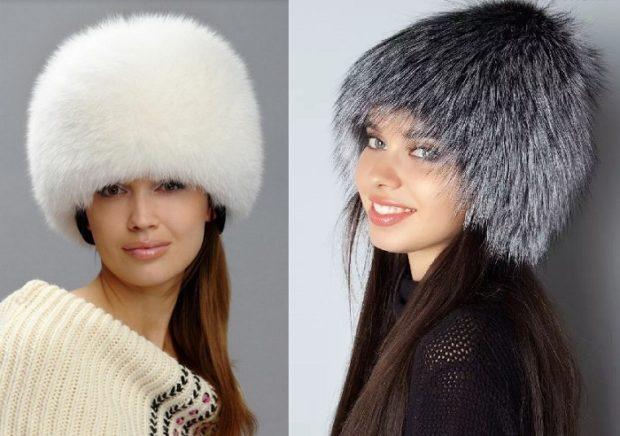 шапка с мехом белая серая