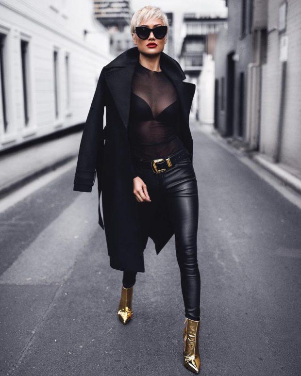 черные тона пальто кожаные штаны