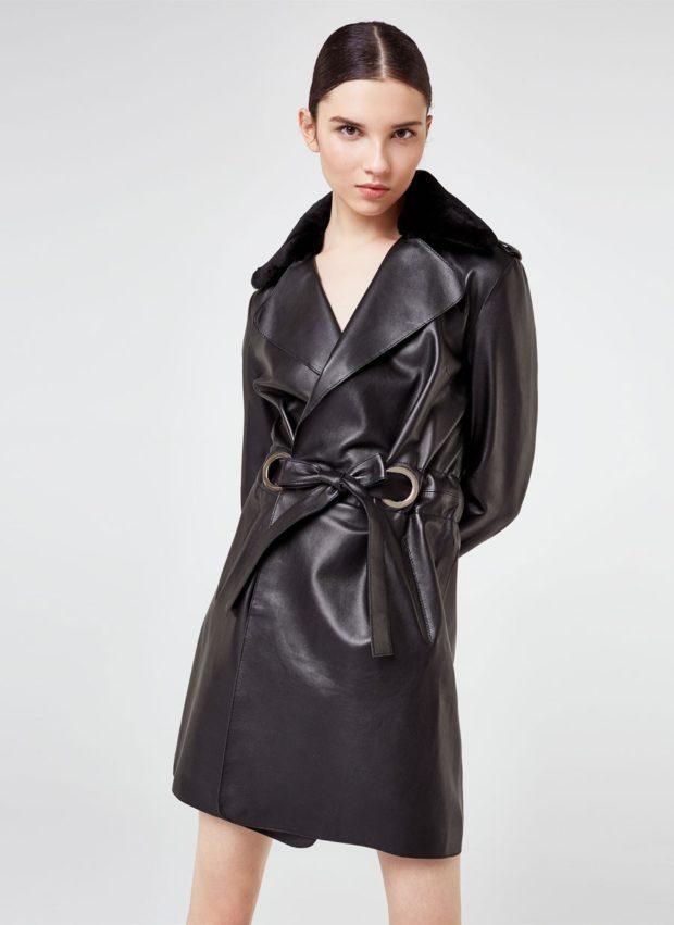 тенденции осени и зимы: кожаный плащ черный с поясом