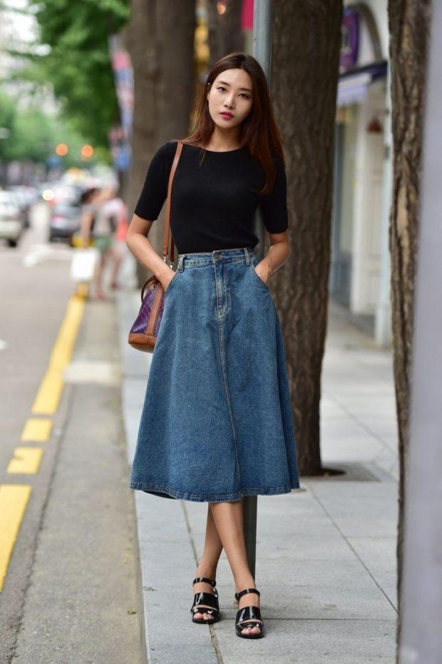 юбка джинсовая по колено с карманами