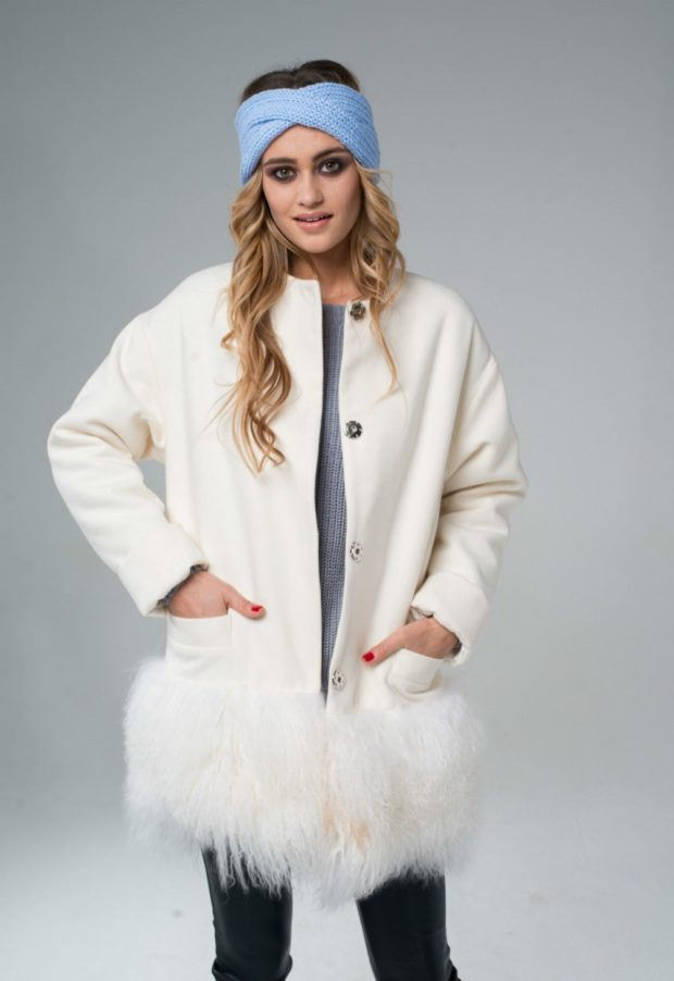 Тренды осень зима 2018 2019: белое пальто с перьями