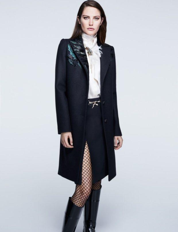 Тренды осень зима 2018 2019: пальто черное с вышивкой