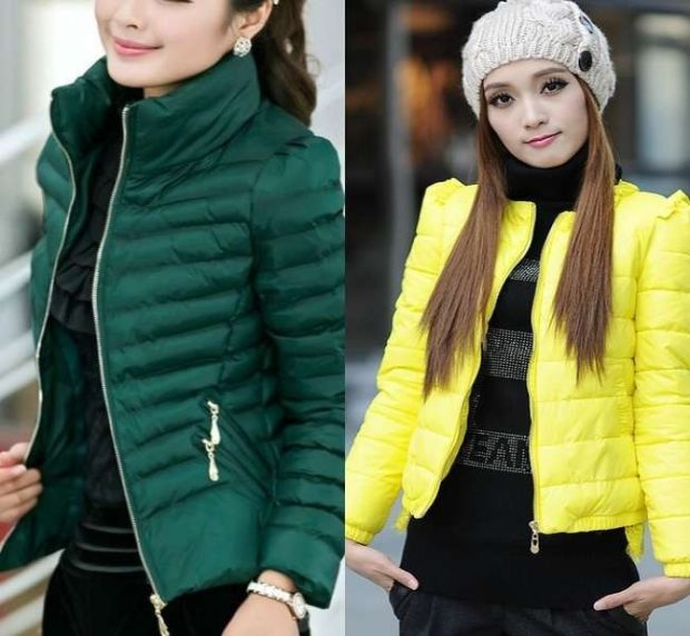 тренды: короткая куртка зеленая желтая