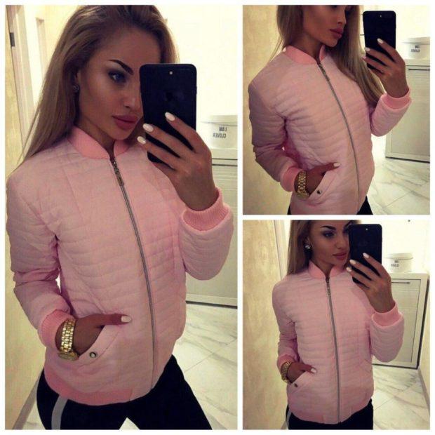 тренды: куртка короткая нежно-розовая