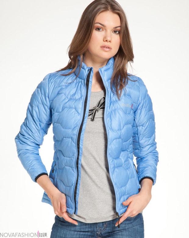 тренды: короткая голубая курточка воротник стойка