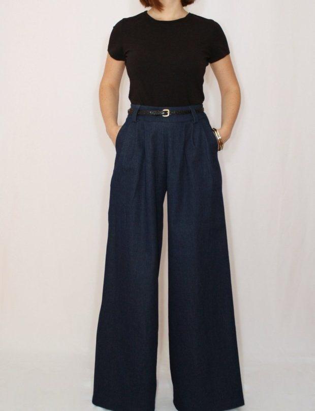 тренды: широкие штаны с высокой талией