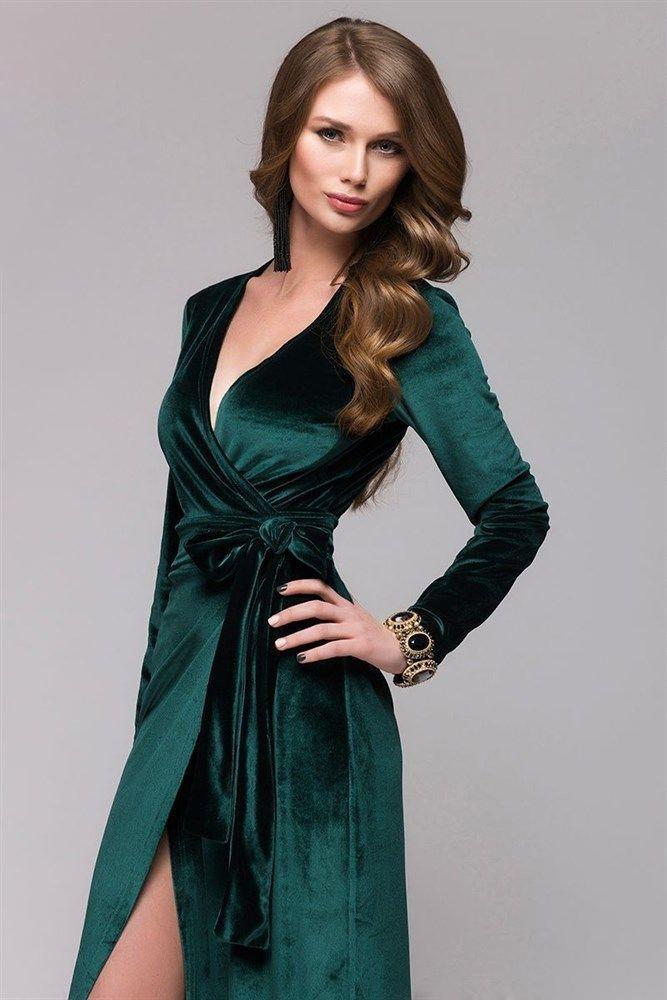 Тренды осень зима 2019: платья из бархата зеленое с запахом