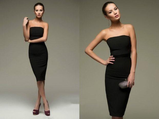 платье бюстье черное по фигуре