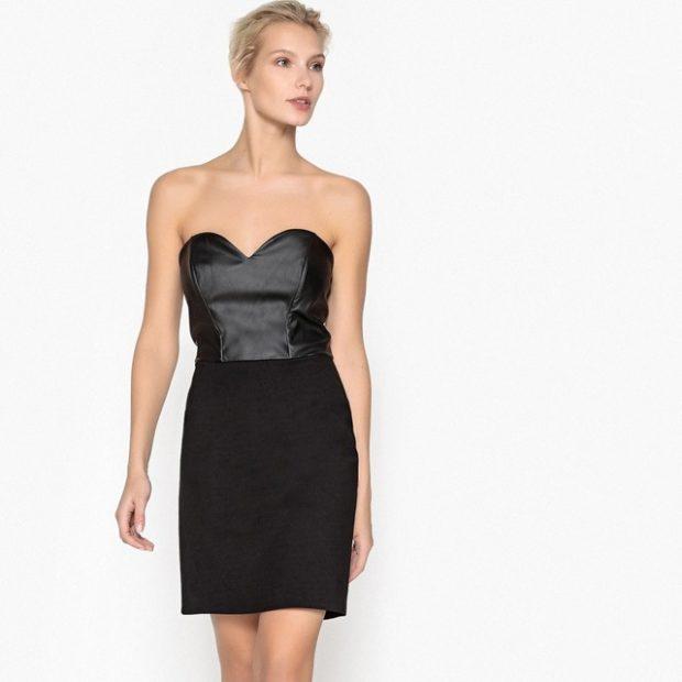 тренды осень зима 2019: платье бюстье черное короткое кожаный верх
