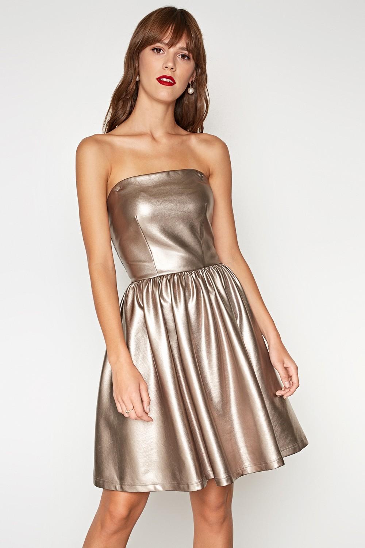 тренды осень зима 2019: платье металлик бронза бюстье